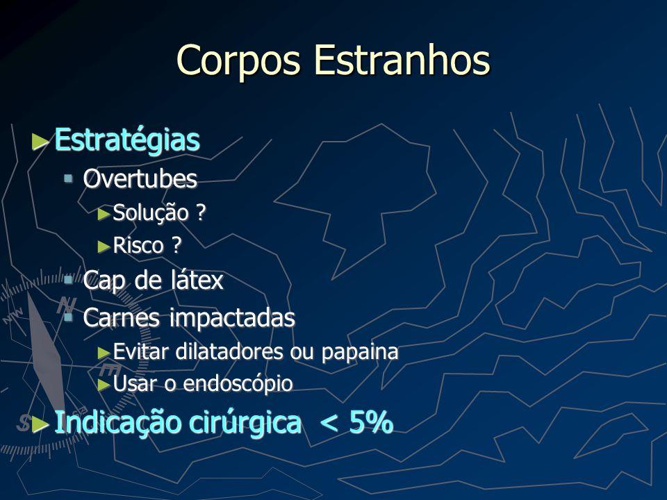 Corpos Estranhos Estratégias Indicação cirúrgica < 5% Overtubes
