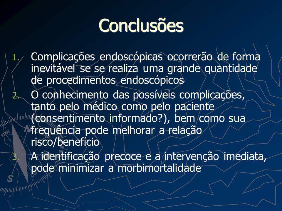 Conclusões Complicações endoscópicas ocorrerão de forma inevitável se se realiza uma grande quantidade de procedimentos endoscópicos.
