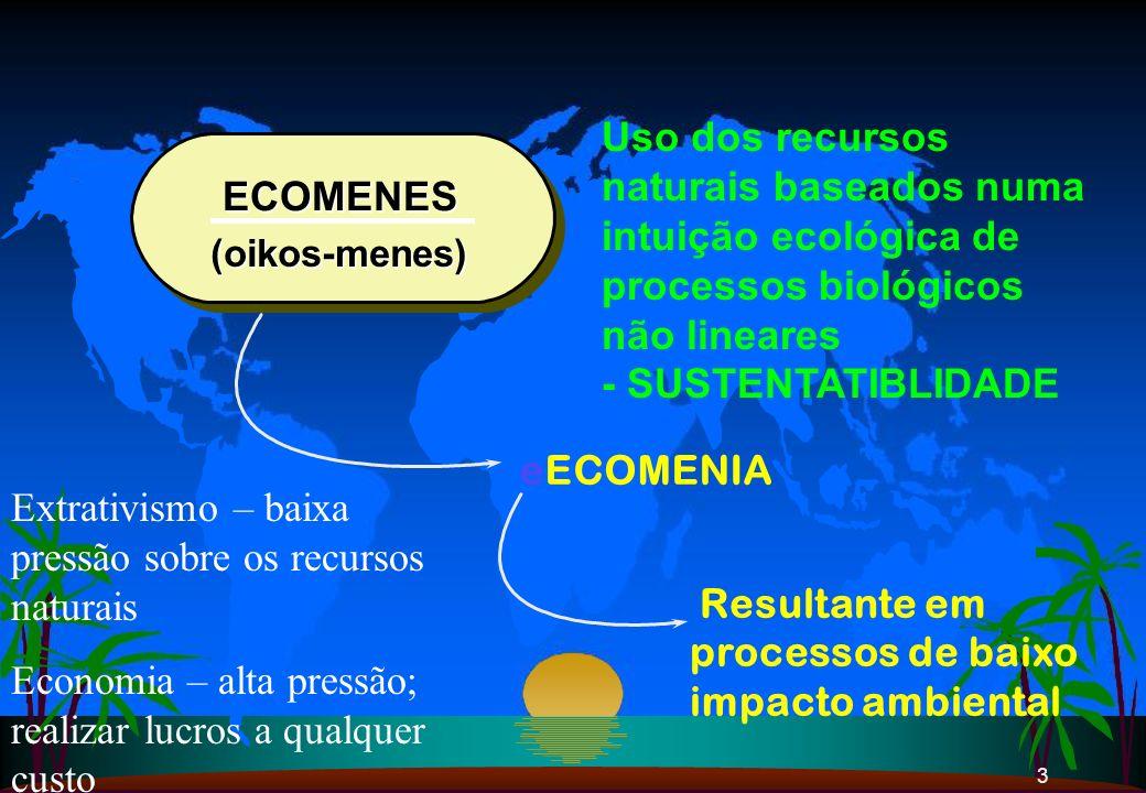 Extrativismo – baixa pressão sobre os recursos naturais