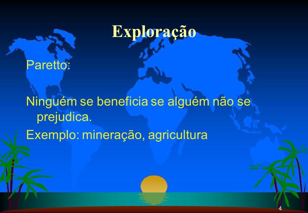 Exploração Paretto: Ninguém se beneficia se alguém não se prejudica.