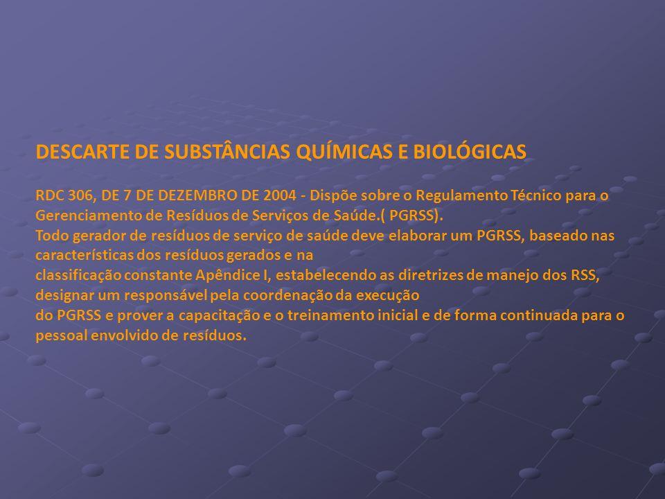 DESCARTE DE SUBSTÂNCIAS QUÍMICAS E BIOLÓGICAS