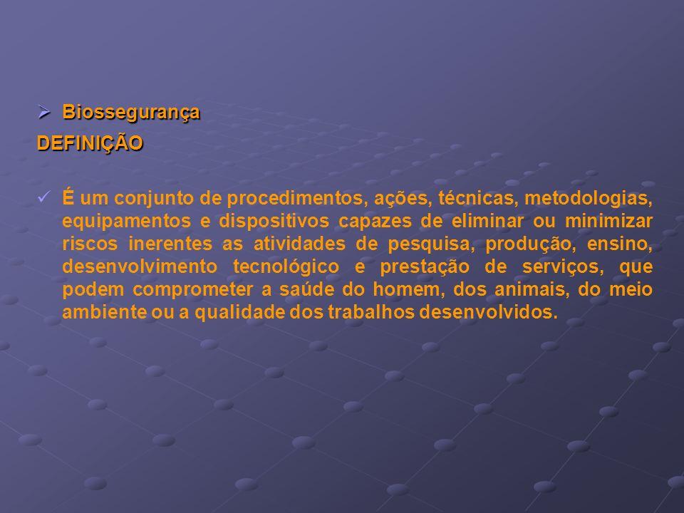 Biossegurança DEFINIÇÃO.
