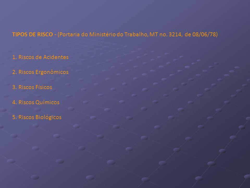 TIPOS DE RISCO - (Portaria do Ministério do Trabalho, MT no