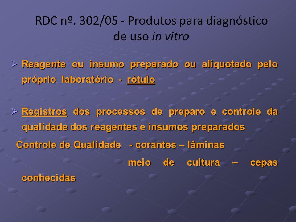 RDC nº. 302/05 - Produtos para diagnóstico de uso in vitro