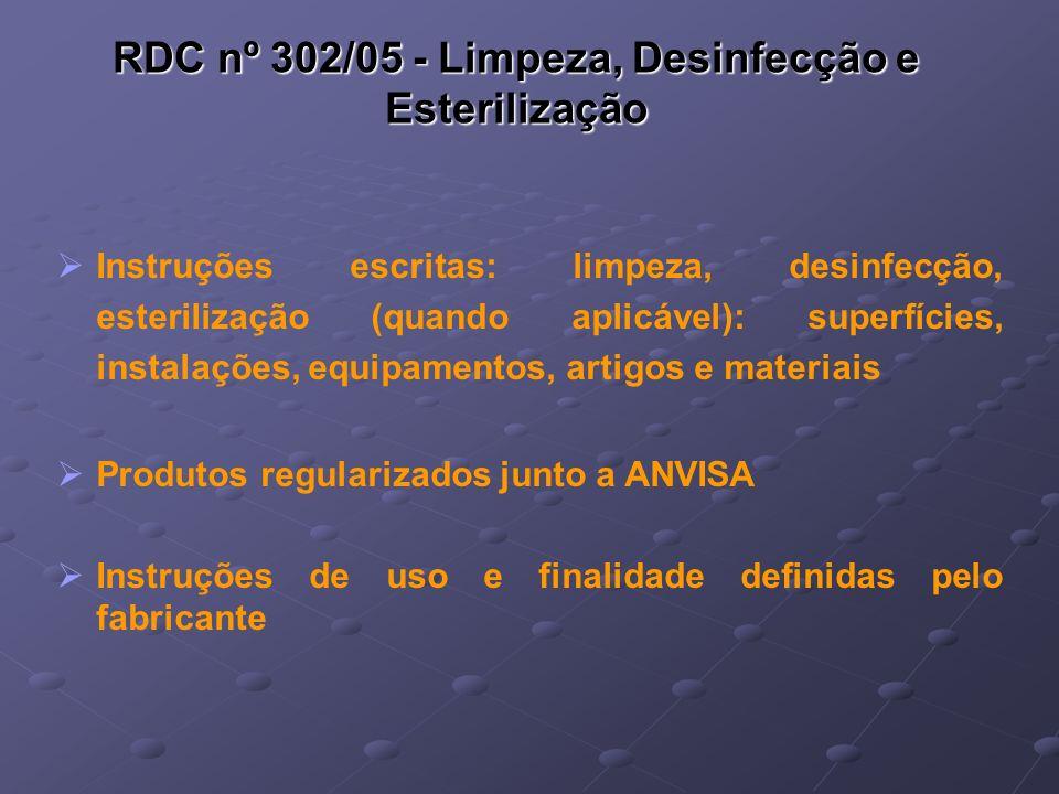 RDC nº 302/05 - Limpeza, Desinfecção e Esterilização