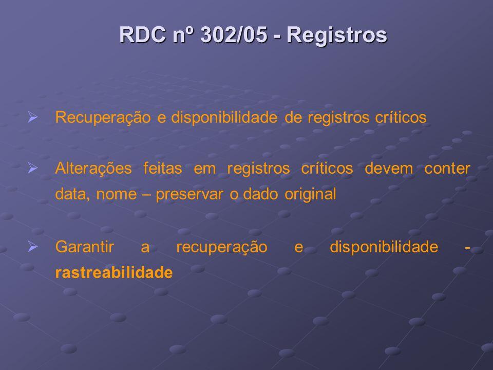 RDC nº 302/05 - Registros Recuperação e disponibilidade de registros críticos.