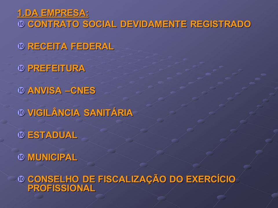 1.DA EMPRESA: CONTRATO SOCIAL DEVIDAMENTE REGISTRADO. RECEITA FEDERAL. PREFEITURA. ANVISA –CNES.