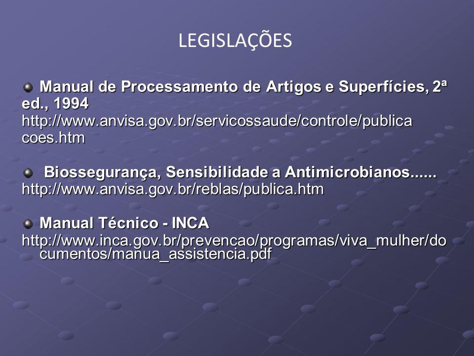 LEGISLAÇÕES Manual de Processamento de Artigos e Superfícies, 2ª