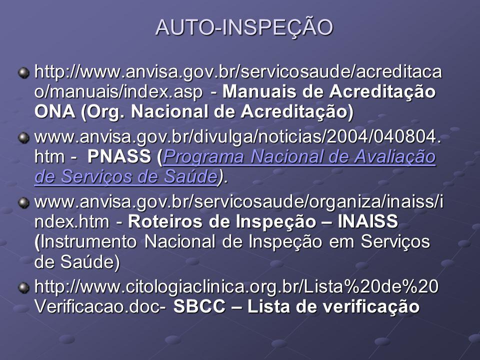 AUTO-INSPEÇÃO http://www.anvisa.gov.br/servicosaude/acreditacao/manuais/index.asp - Manuais de Acreditação ONA (Org. Nacional de Acreditação)