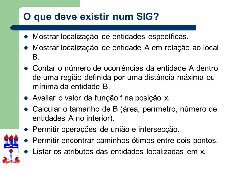 O que deve existir num SIG