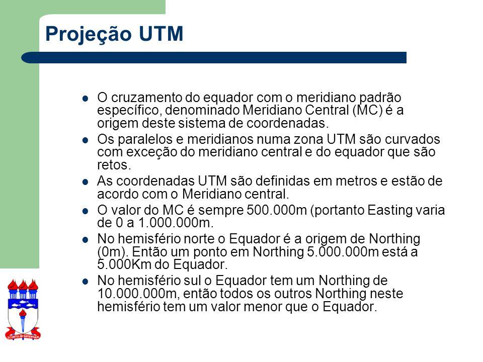 Projeção UTM O cruzamento do equador com o meridiano padrão específico, denominado Meridiano Central (MC) é a origem deste sistema de coordenadas.