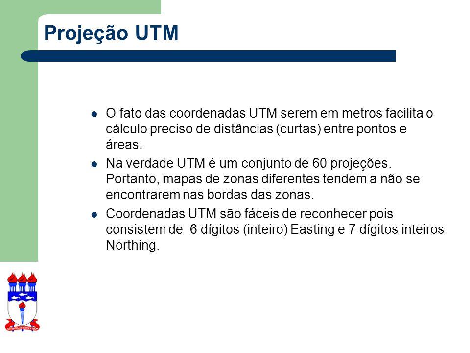 Projeção UTM O fato das coordenadas UTM serem em metros facilita o cálculo preciso de distâncias (curtas) entre pontos e áreas.
