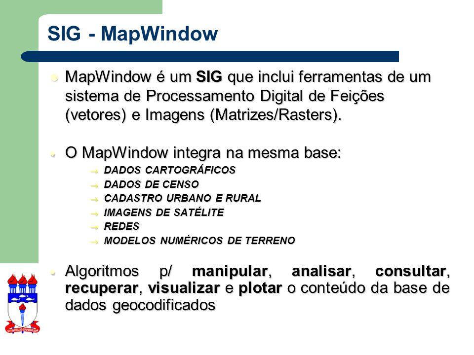 SIG - MapWindow MapWindow é um SIG que inclui ferramentas de um sistema de Processamento Digital de Feições (vetores) e Imagens (Matrizes/Rasters).