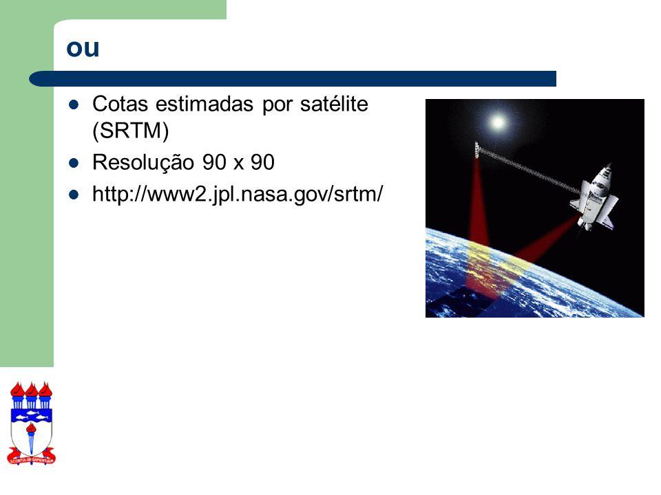 ou Cotas estimadas por satélite (SRTM) Resolução 90 x 90