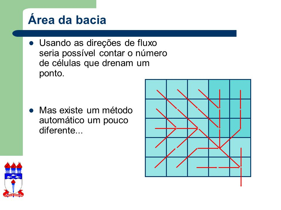 Área da bacia Usando as direções de fluxo seria possível contar o número de células que drenam um ponto.