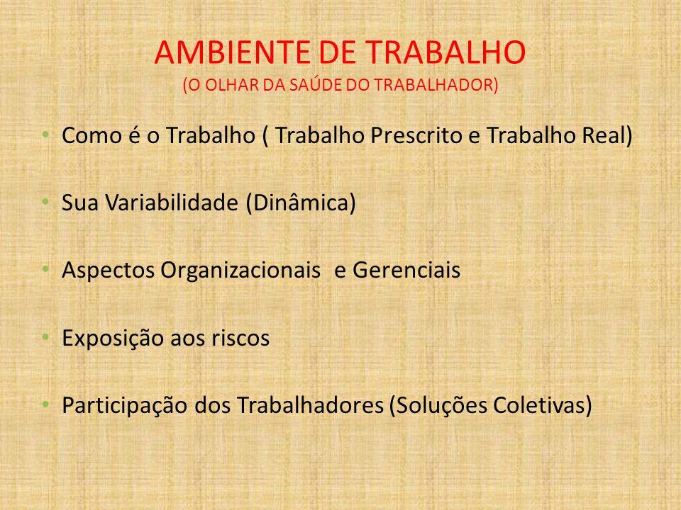 AMBIENTE DE TRABALHO (O OLHAR DA SAÚDE DO TRABALHADOR)