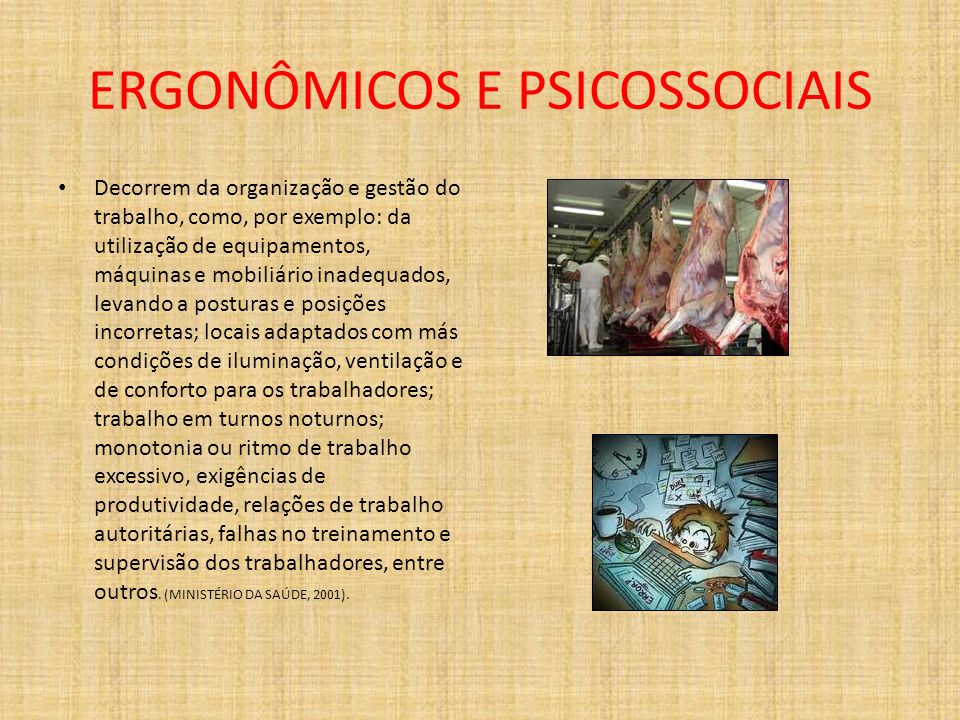 ERGONÔMICOS E PSICOSSOCIAIS