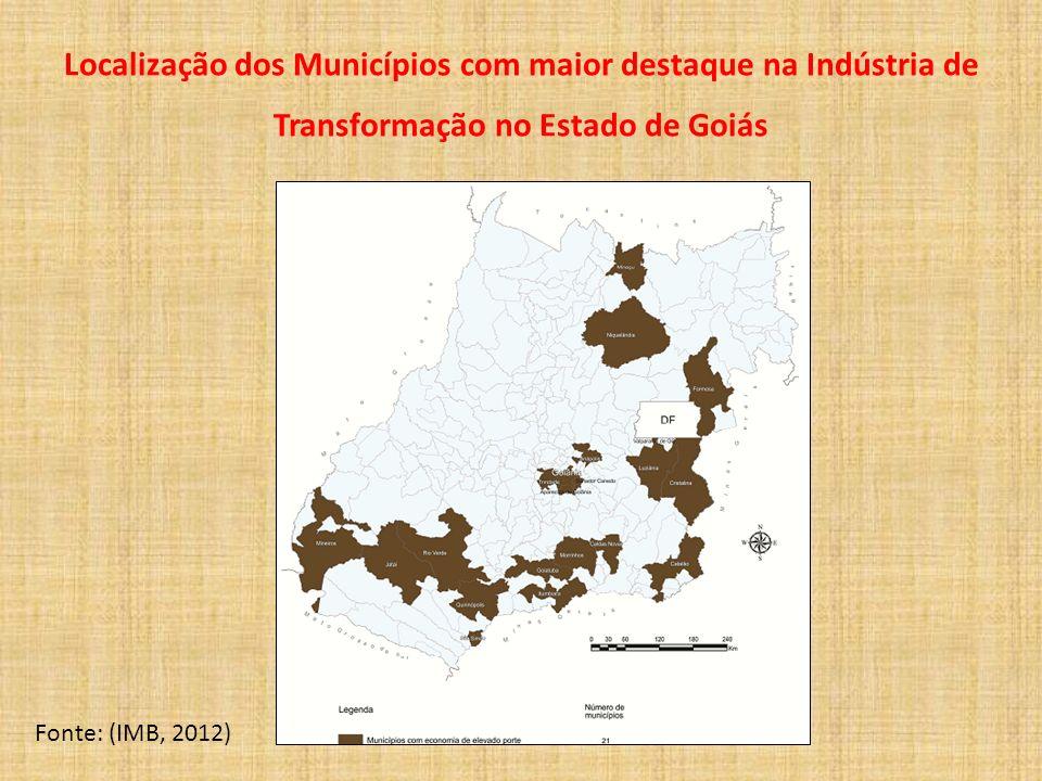 Localização dos Municípios com maior destaque na Indústria de Transformação no Estado de Goiás