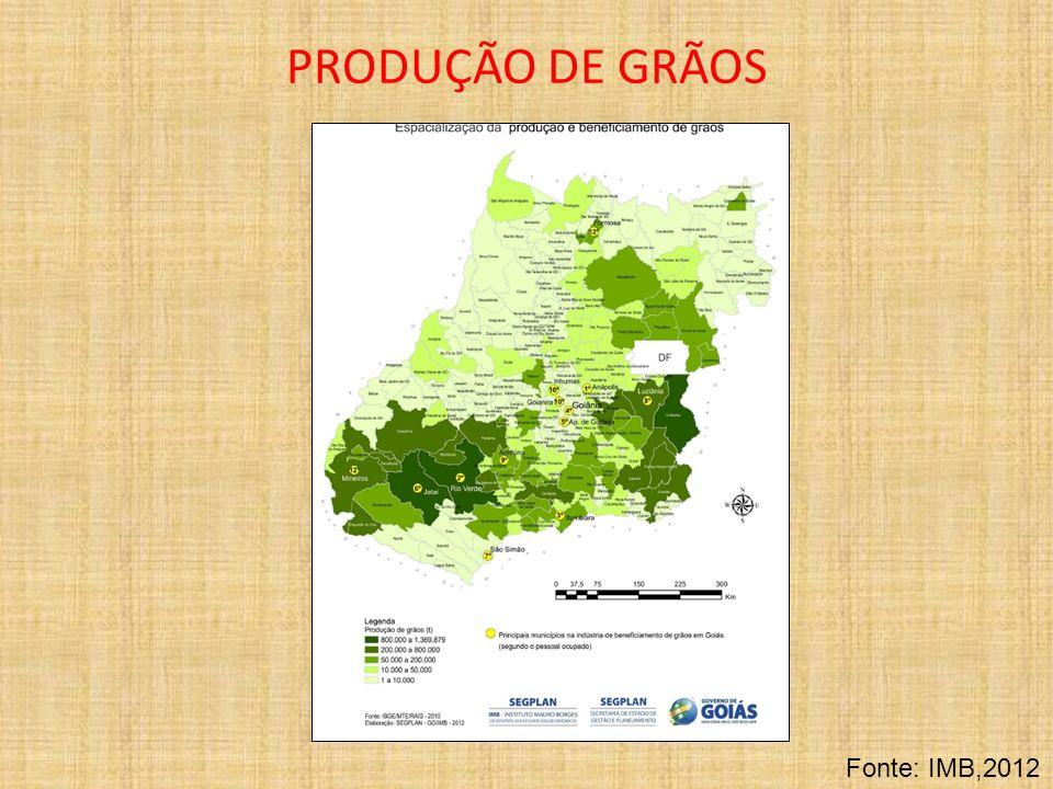 PRODUÇÃO DE GRÃOS Fonte: IMB,2012