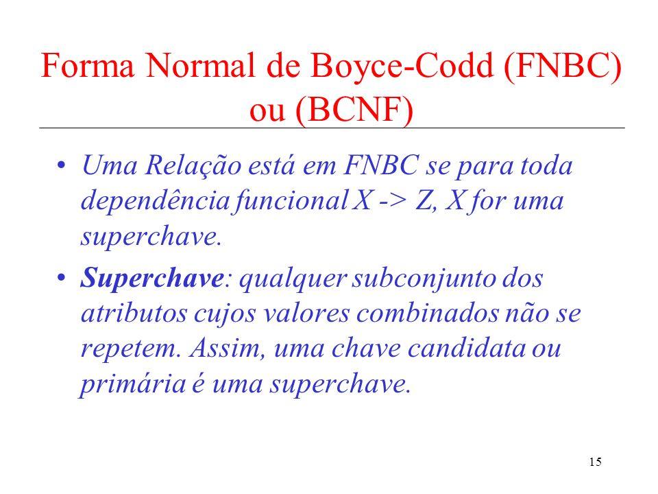 Forma Normal de Boyce-Codd (FNBC) ou (BCNF)