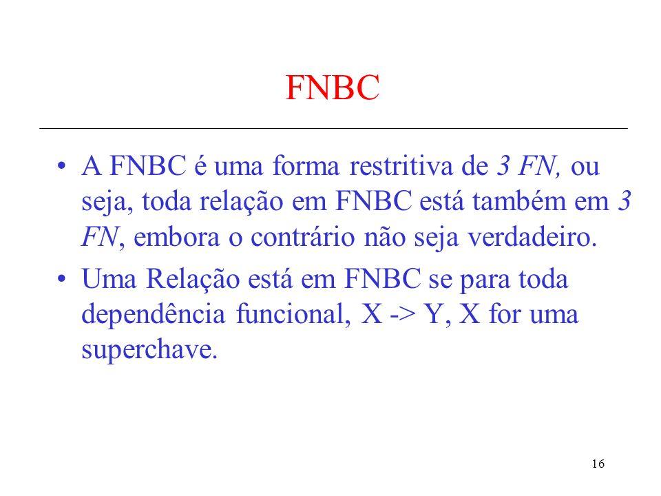 FNBC A FNBC é uma forma restritiva de 3 FN, ou seja, toda relação em FNBC está também em 3 FN, embora o contrário não seja verdadeiro.