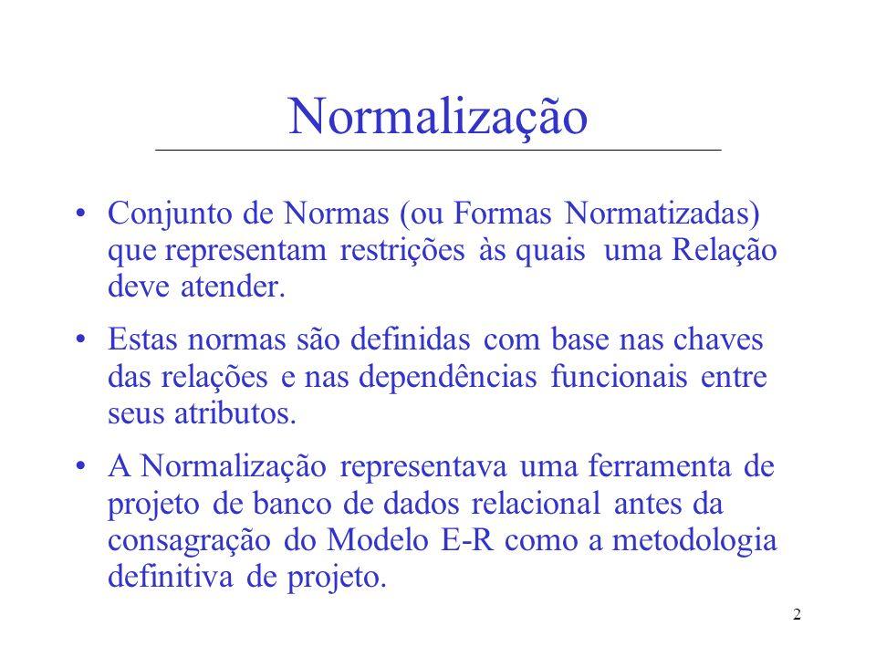 Normalização Conjunto de Normas (ou Formas Normatizadas) que representam restrições às quais uma Relação deve atender.