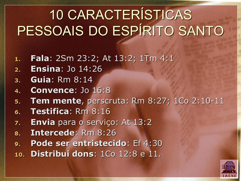 10 CARACTERÍSTICAS PESSOAIS DO ESPÍRITO SANTO