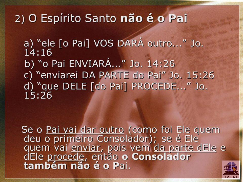 2) O Espírito Santo não é o Pai