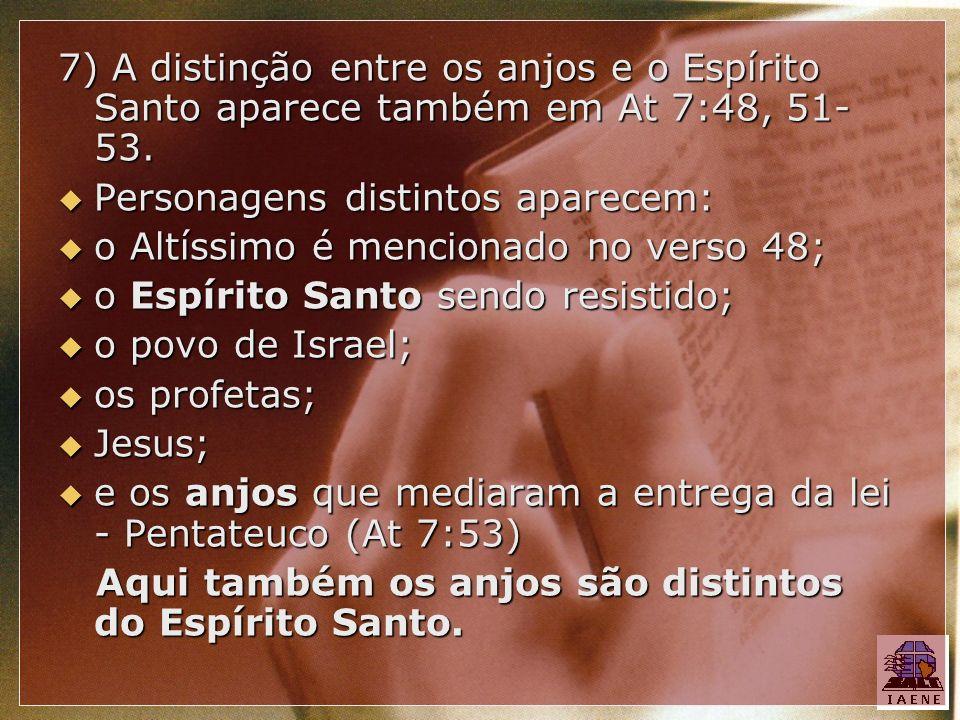 7) A distinção entre os anjos e o Espírito Santo aparece também em At 7:48, 51-53.