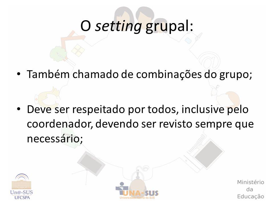 O setting grupal: Também chamado de combinações do grupo;