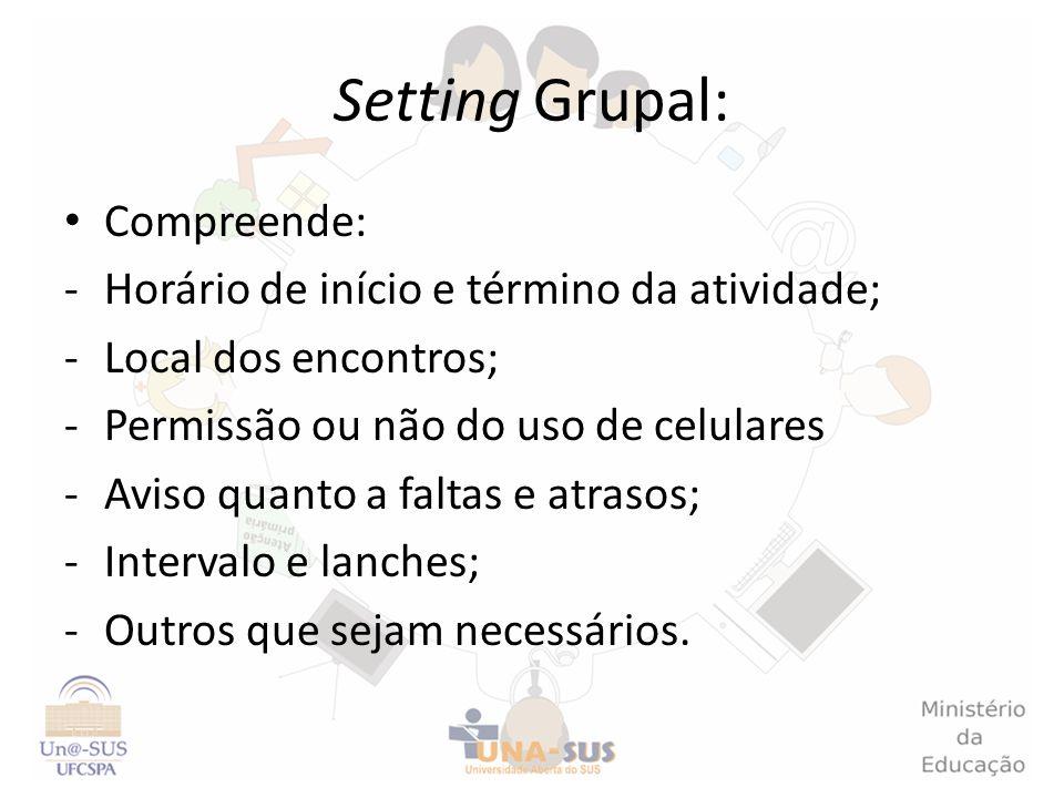 Setting Grupal: Compreende: Horário de início e término da atividade;
