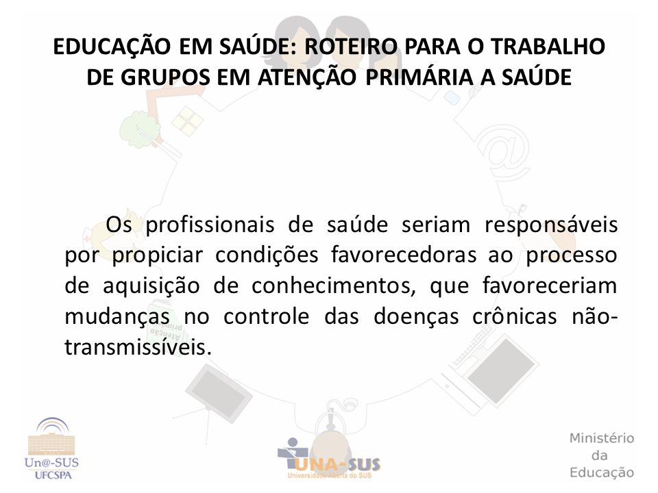 EDUCAÇÃO EM SAÚDE: ROTEIRO PARA O TRABALHO DE GRUPOS EM ATENÇÃO PRIMÁRIA A SAÚDE
