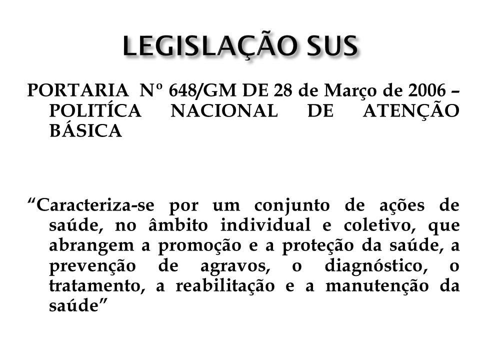 LEGISLAÇÃO SUSPORTARIA Nº 648/GM DE 28 de Março de 2006 – POLITÍCA NACIONAL DE ATENÇÃO BÁSICA.