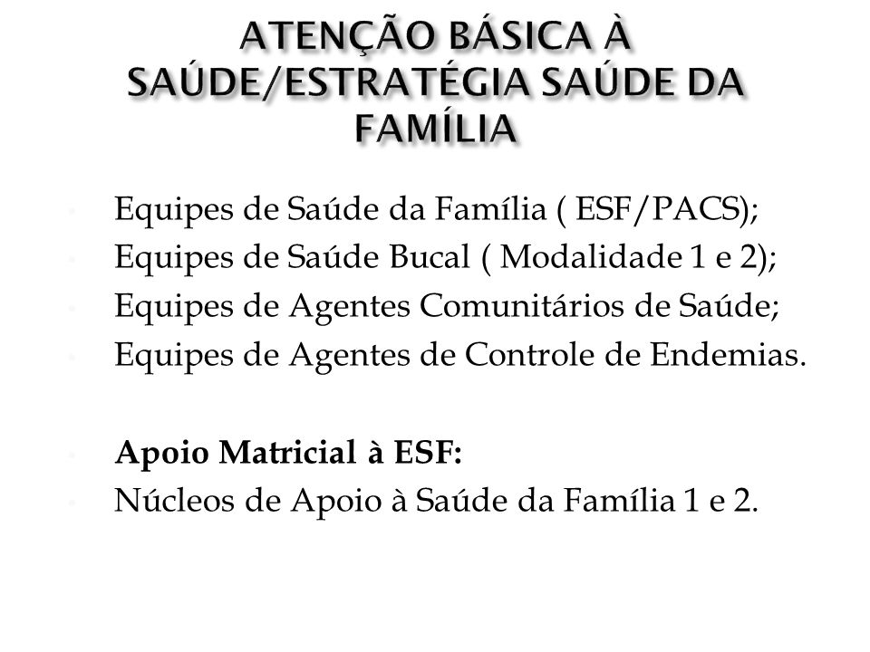 ATENÇÃO BÁSICA À SAÚDE/ESTRATÉGIA SAÚDE DA FAMÍLIA