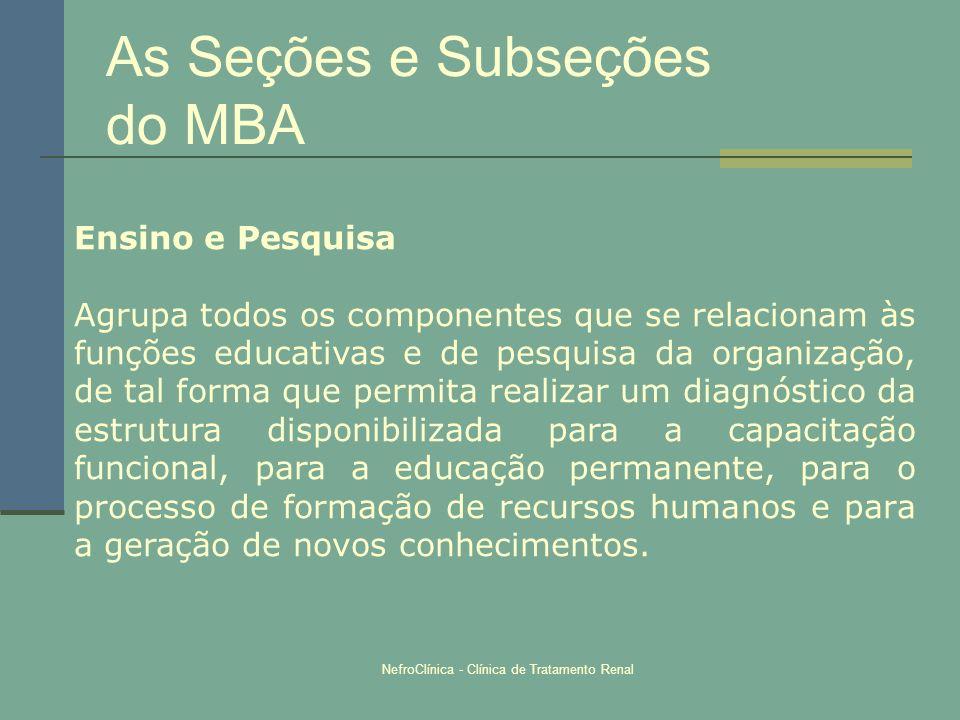 As Seções e Subseções do MBA