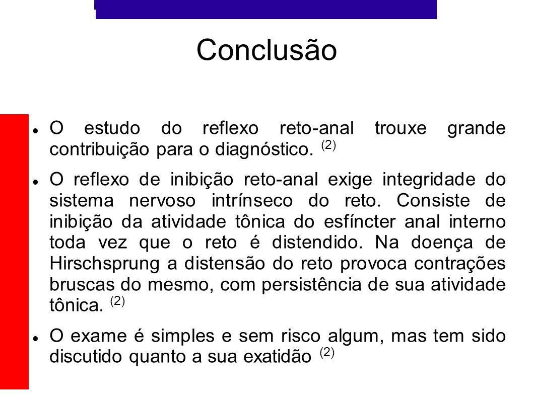 Conclusão O estudo do reflexo reto-anal trouxe grande contribuição para o diagnóstico. (2)