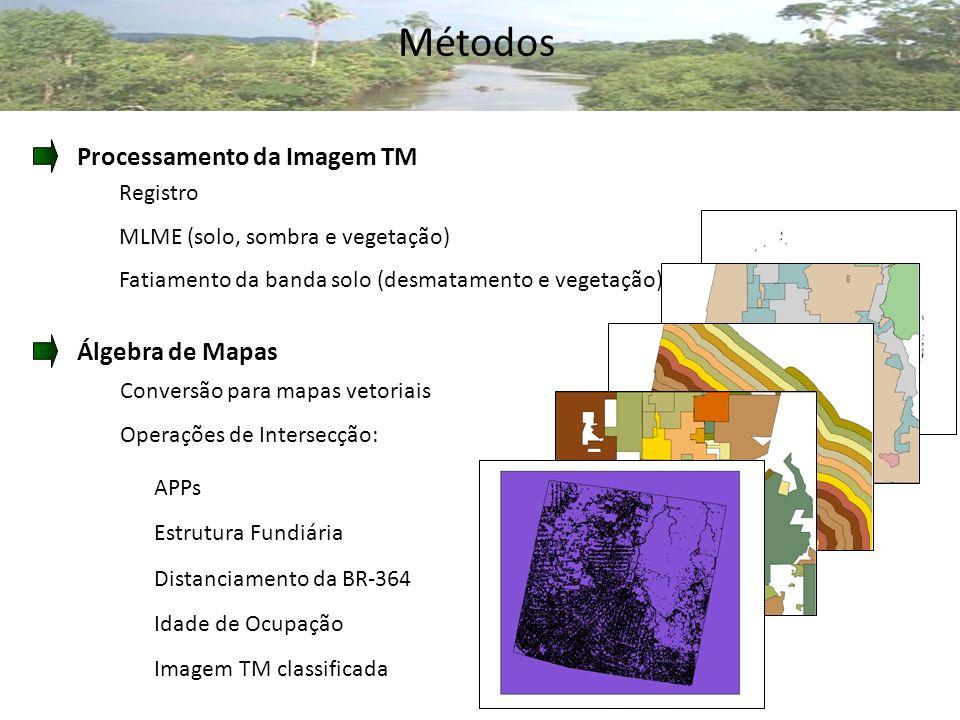 Métodos Processamento da Imagem TM Álgebra de Mapas Registro