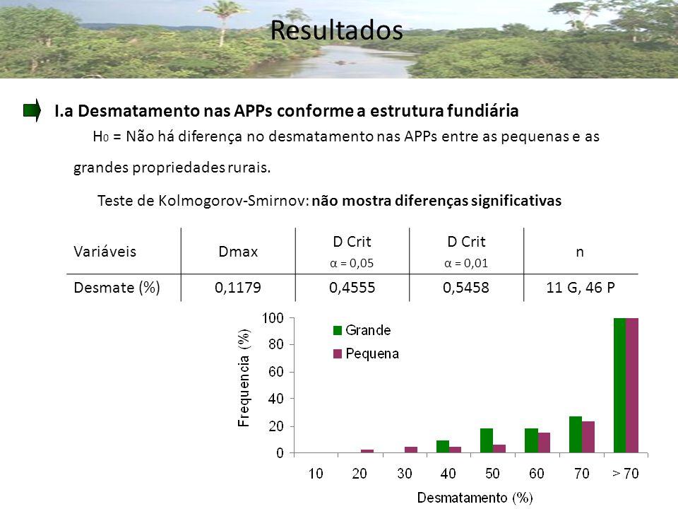 Resultados I.a Desmatamento nas APPs conforme a estrutura fundiária
