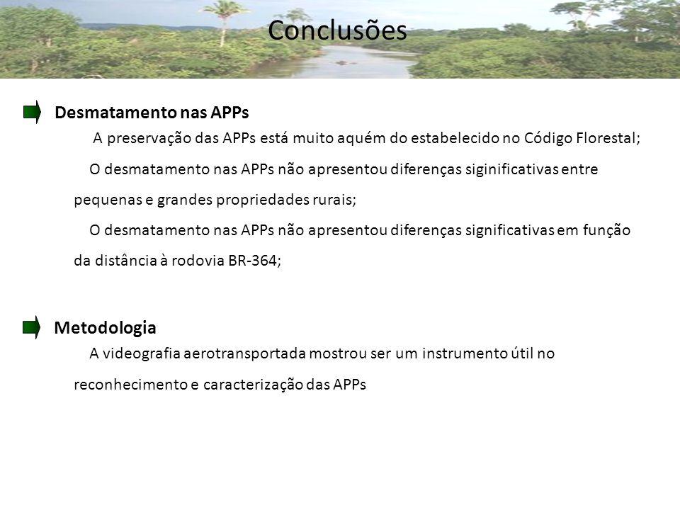 Conclusões Desmatamento nas APPs Metodologia