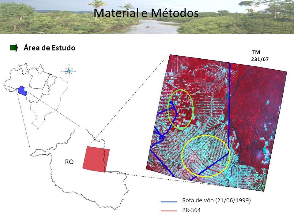 Material e Métodos Área de Estudo RO Rota de vôo (21/06/1999) BR-364