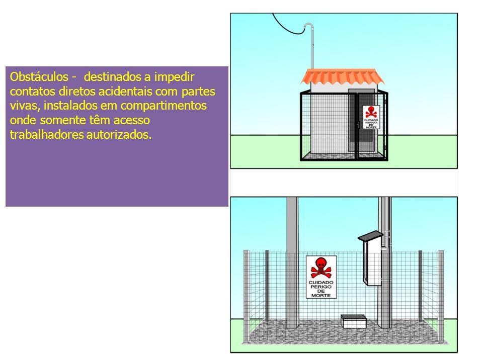Obstáculos - destinados a impedir contatos diretos acidentais com partes vivas, instalados em compartimentos onde somente têm acesso trabalhadores autorizados.