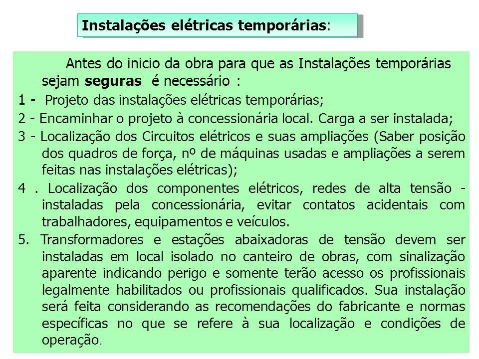 Instalações elétricas temporárias:
