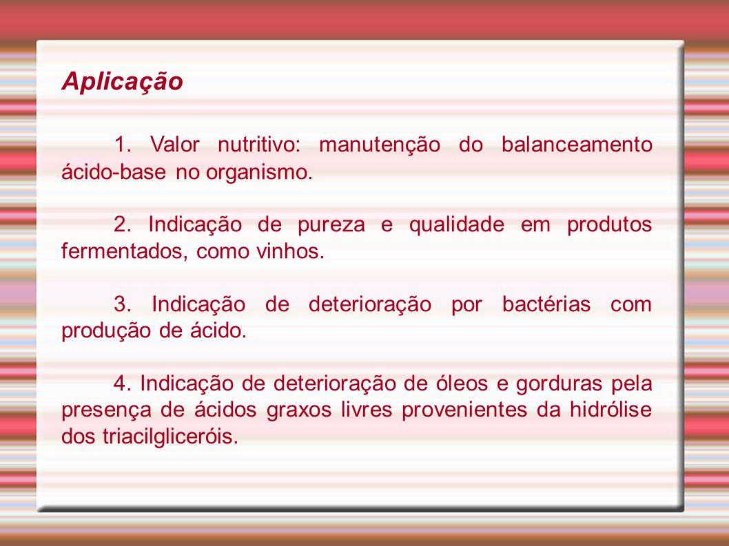 Aplicação 1. Valor nutritivo: manutenção do balanceamento ácido-base no organismo.