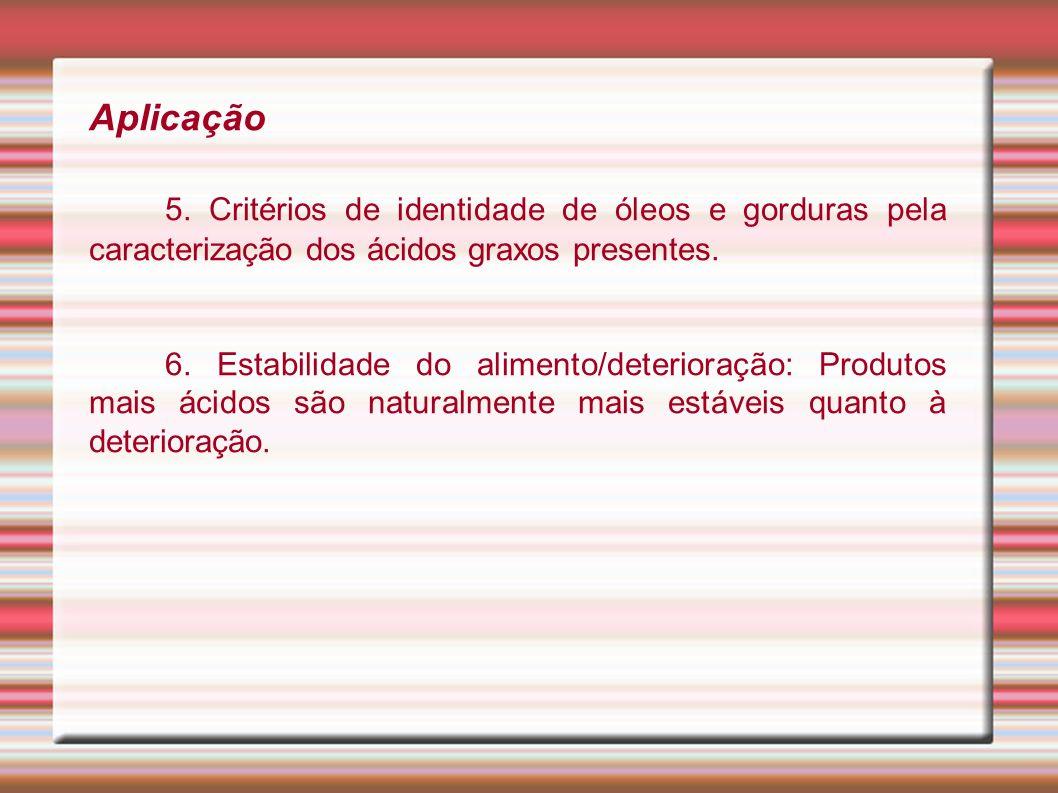 Aplicação5. Critérios de identidade de óleos e gorduras pela caracterização dos ácidos graxos presentes.