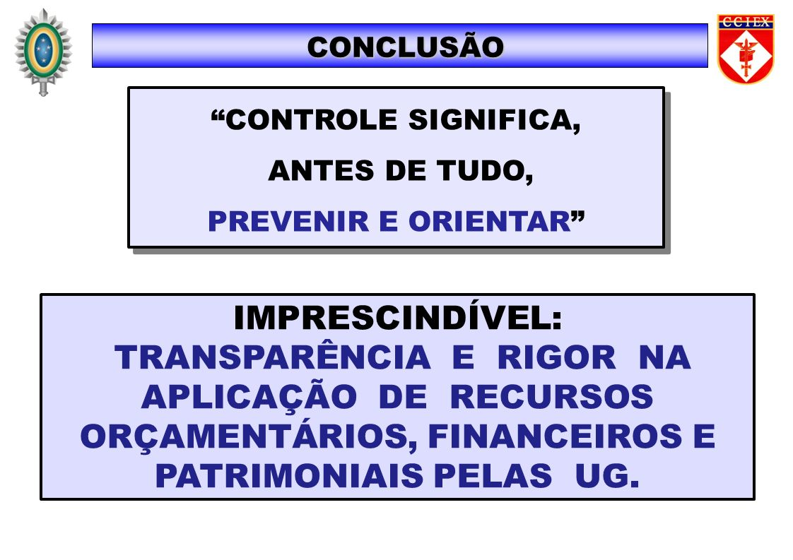 CONCLUSÃO CONTROLE SIGNIFICA, ANTES DE TUDO, PREVENIR E ORIENTAR IMPRESCINDÍVEL: