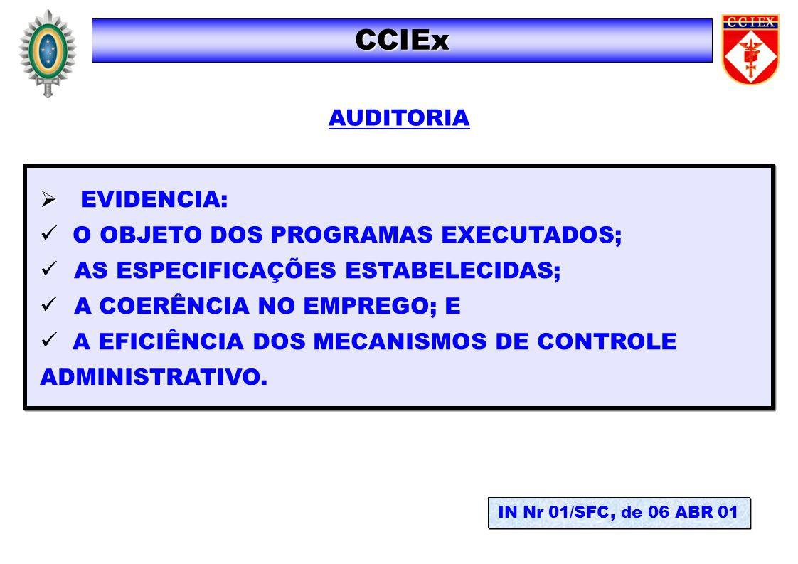 CCIEx AUDITORIA EVIDENCIA: O OBJETO DOS PROGRAMAS EXECUTADOS;