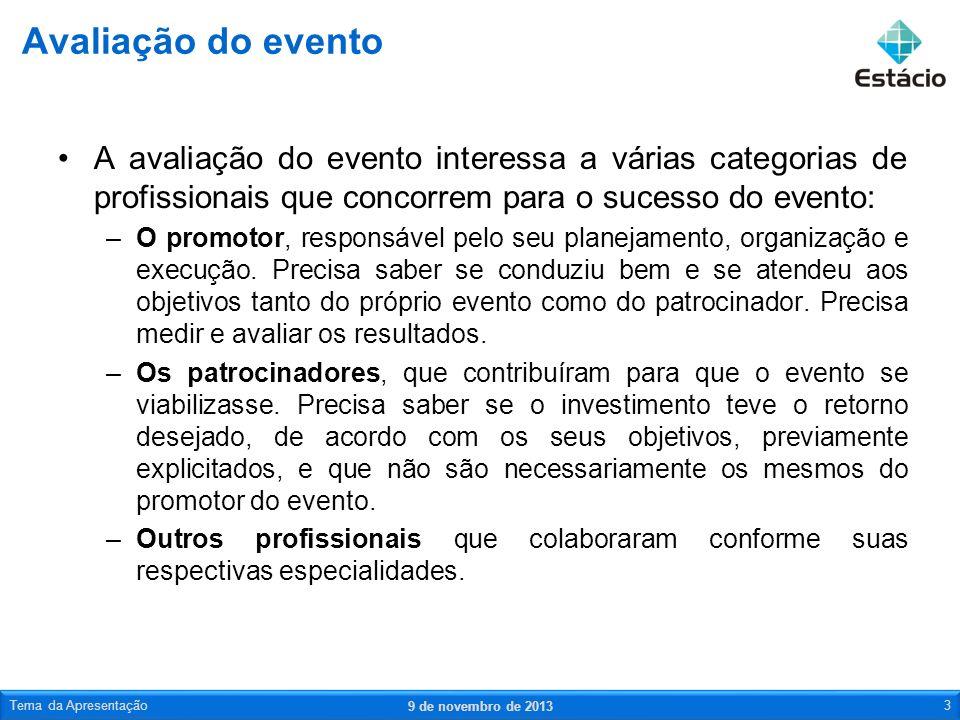 Avaliação do evento A avaliação do evento interessa a várias categorias de profissionais que concorrem para o sucesso do evento: