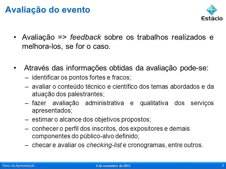 Avaliação do eventoAvaliação => feedback sobre os trabalhos realizados e melhora-los, se for o caso.