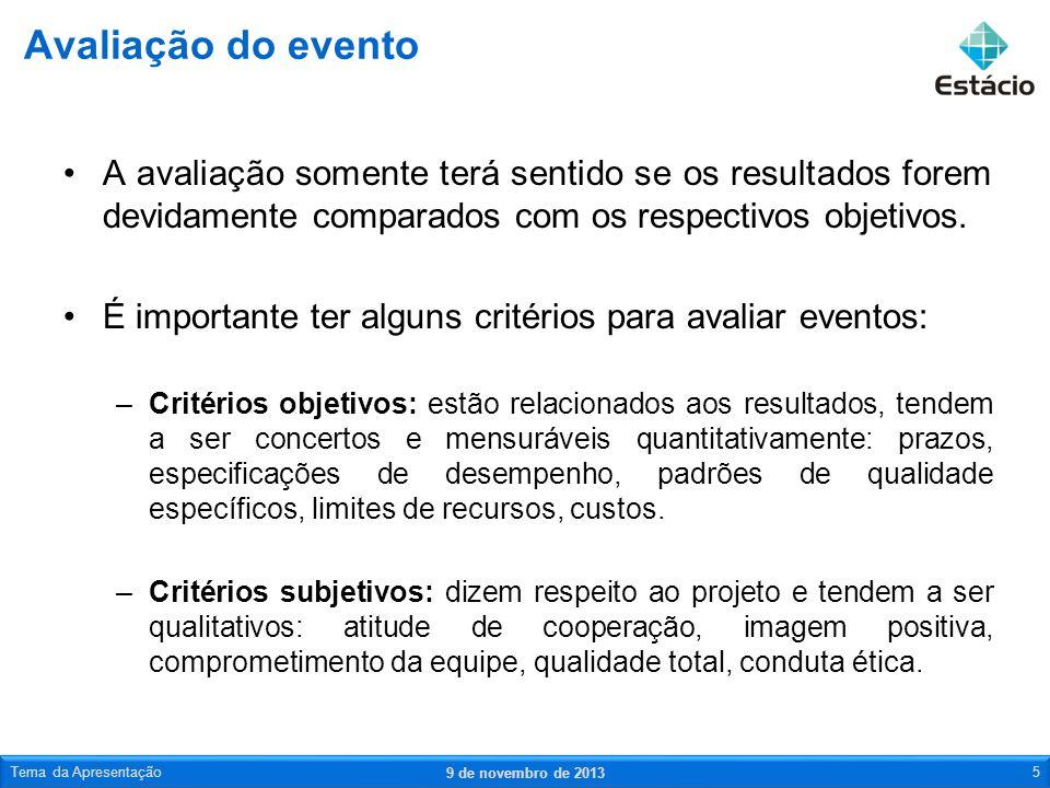 Avaliação do eventoA avaliação somente terá sentido se os resultados forem devidamente comparados com os respectivos objetivos.