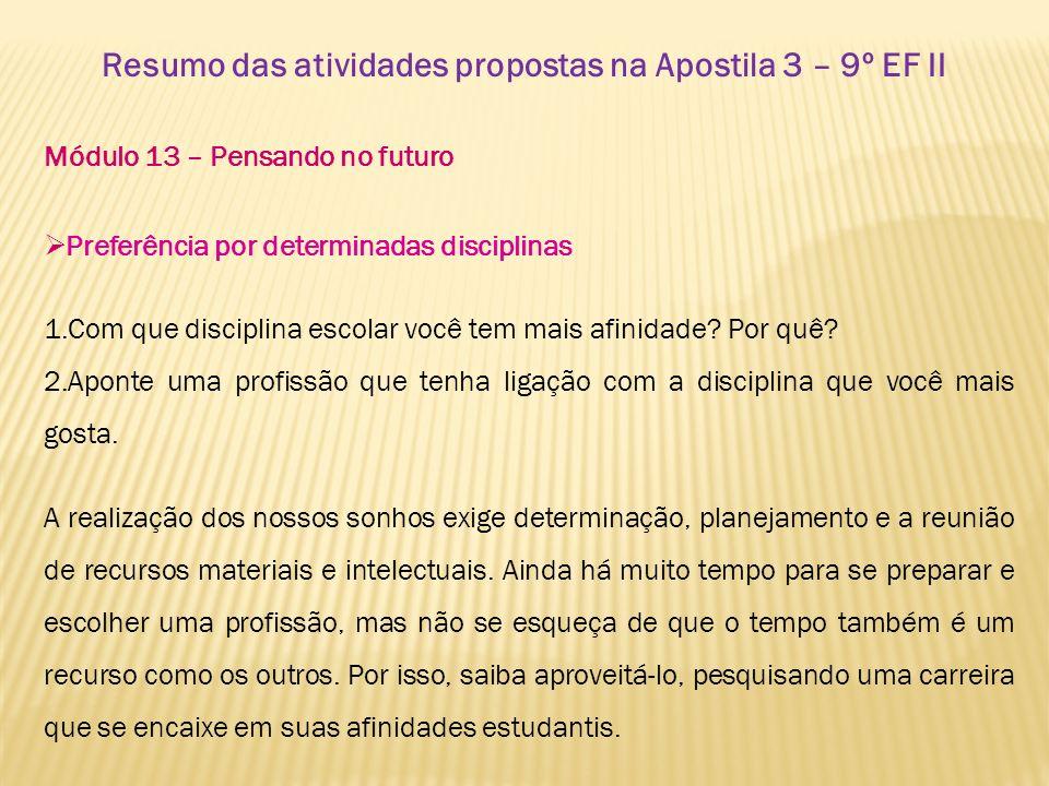 Resumo das atividades propostas na Apostila 3 – 9º EF II